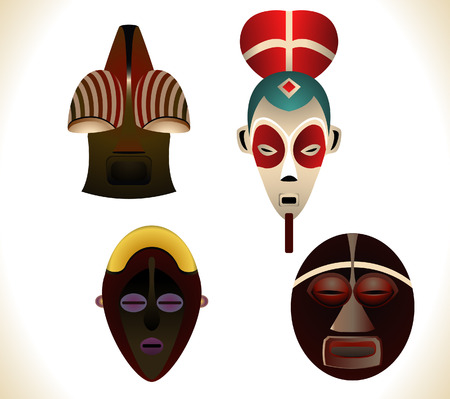 Set of four african masks. Linear and Radial gradients used. Stock Vector - 5513592