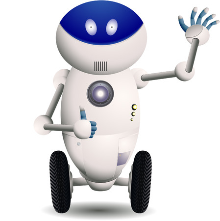 Cute robot with wheels waving his hand with his thumbs up. Linear and radial gradients only.