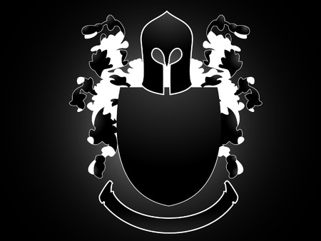 An Heraldry figure with floral ornaments, an helmet, shield and a banner.