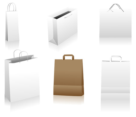 Set of shopping bags. You can place your designs on the surface. Easily editable package. Linear and radial gradients only. Illustration