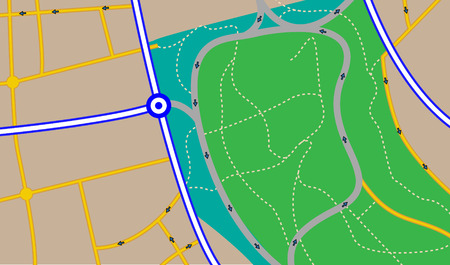 Illustration of a fictitious street map with different type of roads. Plain colors only.