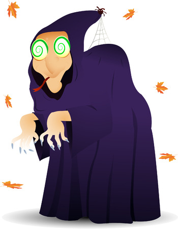 An hypnotizing witch suddenly appearing in autumn for Halloween. Linear and radial gradients only. Stock Vector - 5513583