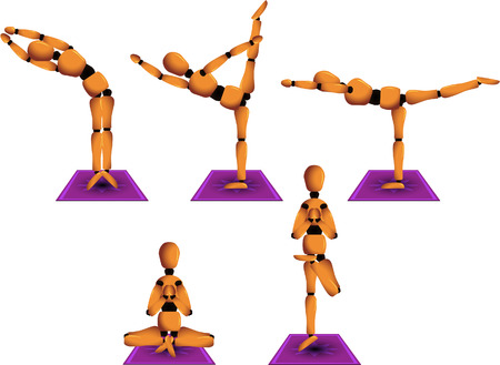 Vector figurine named Woody showing five different yoga postures to practice on a daily basis. Linear and radial gradients only. All elements separated and easily editable.