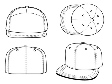Set of 4 blank hats that can be used as mockups or templates. You can place your design and personalize those hats. Stock Vector - 5570477