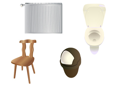 Set of objects commonly found in a modern house. Linear and radial gradients. Illustration