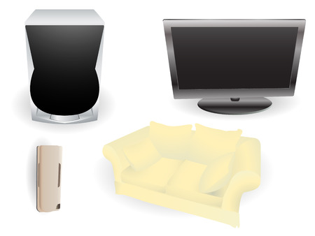 Set of objects commonly found in a modern living room. Linear and radial gradients only.