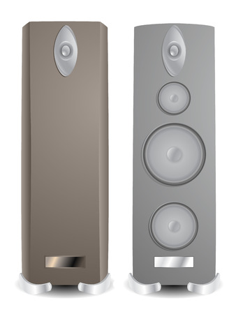 Two fictitious modern hi-fi speakers. Linear and radial gradients
