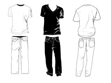 Camiseta y pantalones templates / maquetas para sus propios diseños. Las sombras se pueden ocultar, camisetas y pantalones están en capas separadas con subcapas donde usted puede colocar su propio diseño. Ilustración de vector