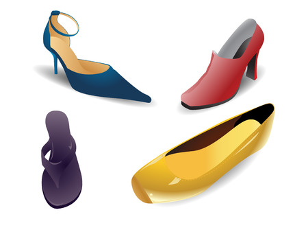 Set of colorful modern women shoes. Linear and radial gradients only.
