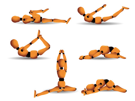 Vector figurine named Woody showing six different yoga postures to practice on a daily basis. Linear and radial gradients only. All elements separated and easily editable. Illustration