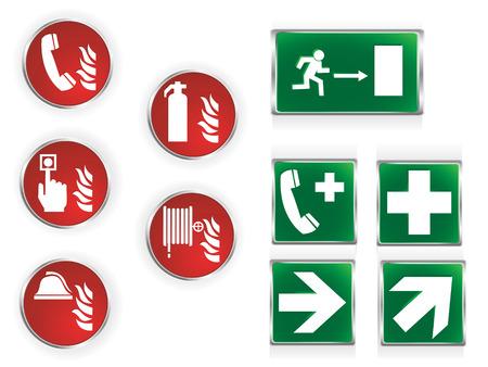 salida de emergencia: Conjunto de diez los s�mbolos de emergencias utilizados com�nmente.