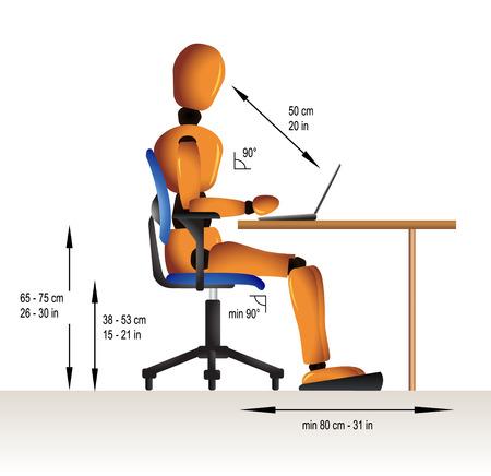 how: Instrucciones sobre c�mo sentarse correctamente cuando se trabaja en el fin de evitar problemas de salud diversos.
