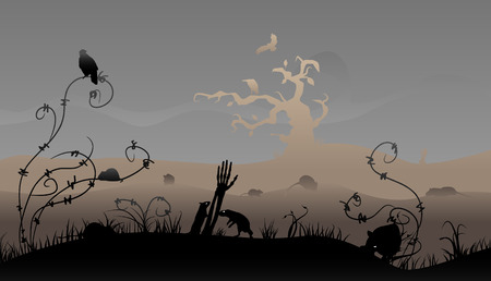 Creepy halloween scene with rats and birds. Illustration