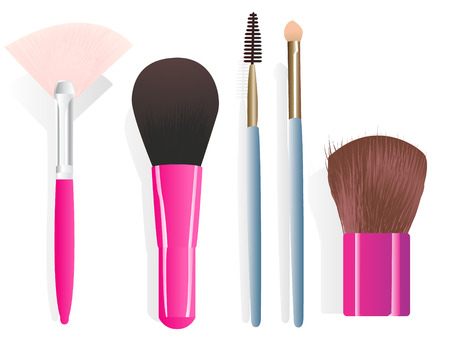 cosmetology: Set of five different make-up brushes. Illustration