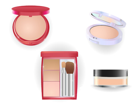 Glitering and shining set of make-up objects. Illustration