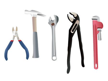 plumber with tools: Conjunto de herramientas de nuevo fontanero para todas sus actividades manuales.