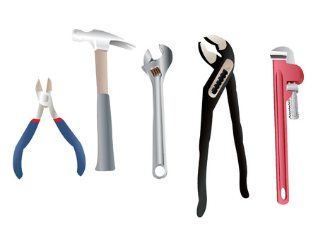 Set of brand new plumber tools for all your manual activities.