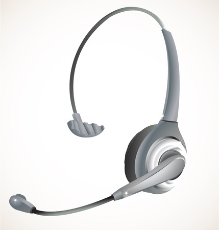 contact centre: Headset commonly used in a call center environnement. Linear and Radial gradients, eps 8. Illustration