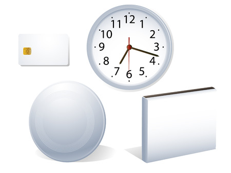 Set of four objects commonly used in business packaging. Linear and radial gradients only.