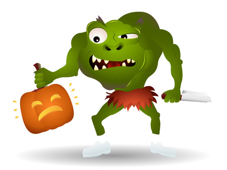Green monster ready to kill a pumpkin. Linear and radial gradients. Stock Vector - 5737871