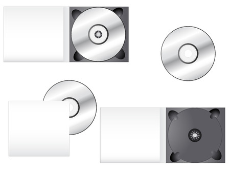 보석: CD and its box into different positions. Ideal for packaging purposes. Linear and radial gradients