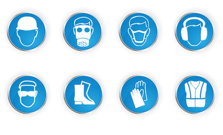 dangerous work: Icons representing 8 important safety instructions. Illustration