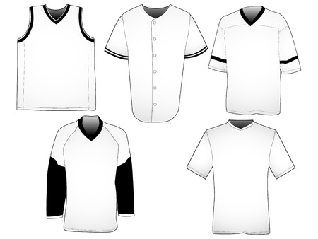 Set of five jerseys from different sports. Your own design can easily be placed on the templates.