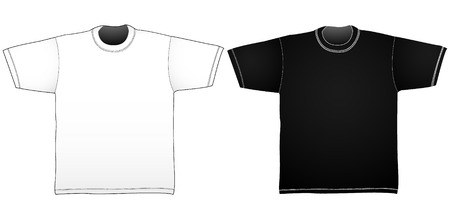 Black and white t-shirt templates. Linear gradients only. Illustration