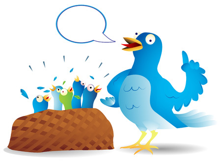 Very talkative twitter bird giving a speech to its hungry kids. Illustration