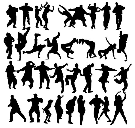 Huge crowd of dancers silhouettes with several styles. Stock Vector - 5801138