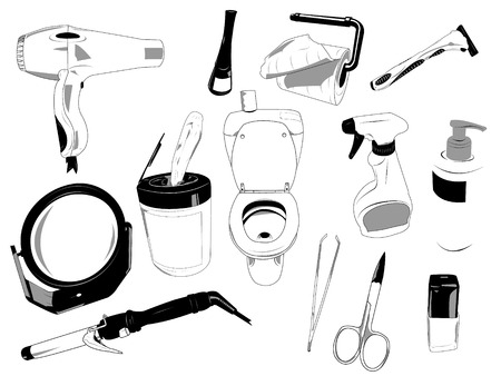 Sketch like vector illustrations of several objects used in house.