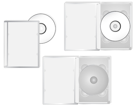 DVD and its boxes into different positions. Ideal for packaging purposes. Linear and radial gradients