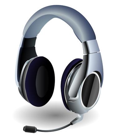 speaker system: Auriculares detallada utilizada por los jugadores de video. Lineal y radiales degradados, eps 8.  Vectores
