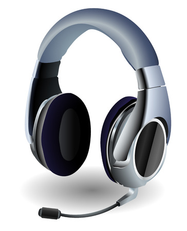 Detailed headset used by video gamers. Linear and Radial gradients, eps 8.