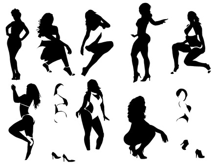 Silhouettes of several sexy women posing with explicit and suggestives expressions. Vector