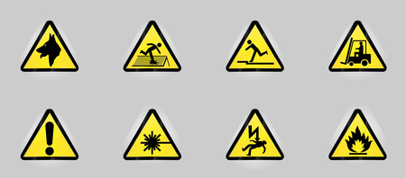 Warning icons representing 8 important dangers. Stock Vector - 5801147