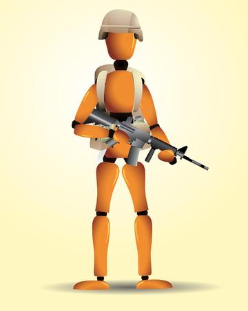 back belt: Un soldado de la madera con diferentes armas, un casco y una mochila. Degradados lineales y radiales usados. Eps8.  Vectores