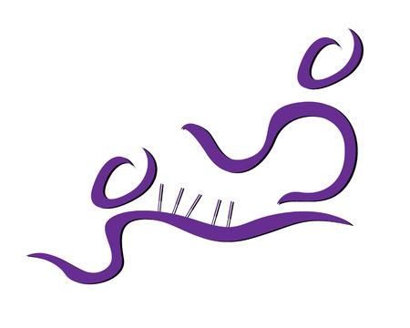 fysiotherapie: Stijlvolle illustratie van een acupuncturist en een patiënt. Kan worden gebruikt als een pictogram of een symbool.