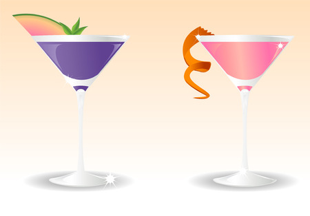 Stylish illustration of two glasses with cocktails pink and blue. Linear and radial gradients only.