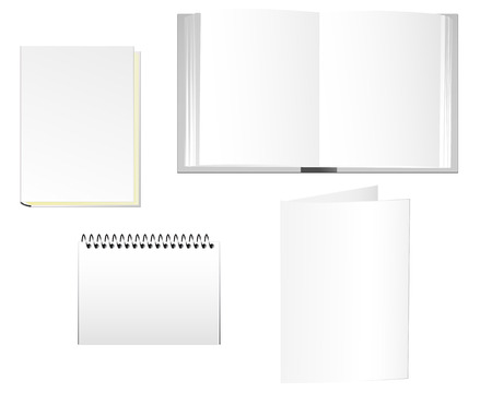 Stationaries of books, notepad and folder. Linear and radial gradients. EPS8.