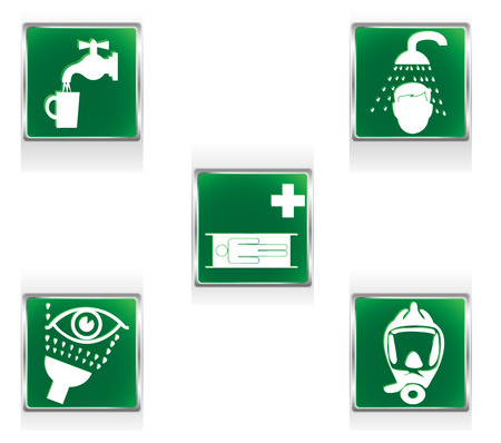 situations: First aid icons representing five situations requiring special care. Linear and radial gradients.