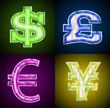 Glowing jeweled money symbols. Linear and radial gradients only. File in EPS8.