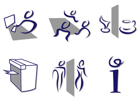 Stylish set of office icons sketch like. No gradients, plain color only.