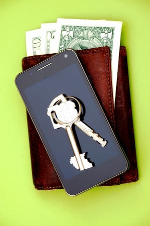 財布、携帯電話とキー 写真素材