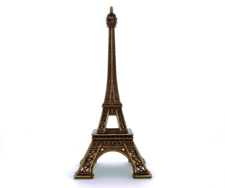 d'eiffel: The model of the Eiffel Tower from copper Stock Photo