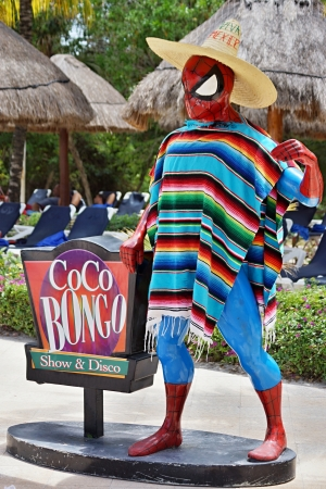 The statue of the hero of comics the spiderman is decorated with the Mexican rug