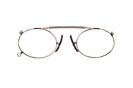 The Isolated Eyeglasses In The Copper Frame Closeup On A White ...