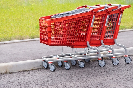 household goods: red baskets-carts for warehousing of food and household goods upon purchase in shops and in markets
