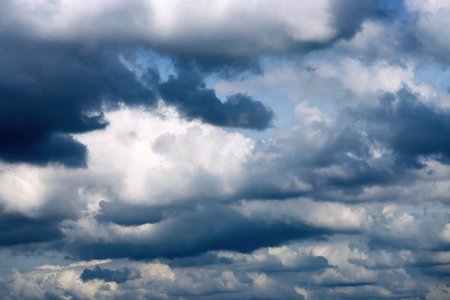 natural backgrounds: the cloudy sky with dark thunderclouds for abstract natural backgrounds Stock Photo