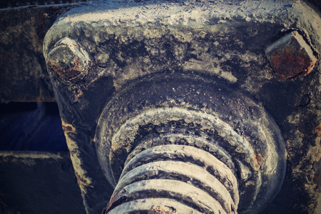 charred: the abstract charred iron screw connection from an ancient design